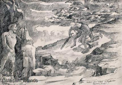 Fugl, Klettur, Maður, Þjóðsaga