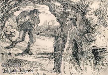 Hundur, Poki, Pottur, Stúlka, Tröll, Tungl, Þjóðsaga