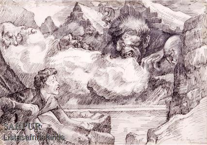 Fjall, Klettur, Maður, Tröll, Vatn, Þjóðsaga, ÞokaFjall, Klettur, Maður, Tröll, Vatn, Þjóðsaga, Þoka
