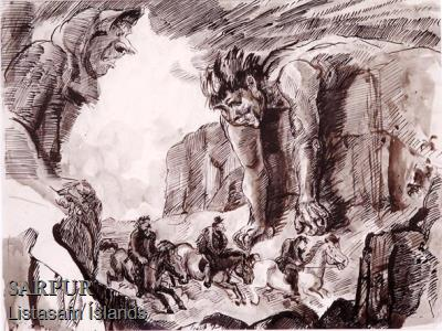Beisli, Hestur, Klettur, Maður, Tröll, Tröllskessa ÞjóðsagaBeisli, Hestur, Klettur, Maður, Tröll, Tröllskessa Þjóðsaga