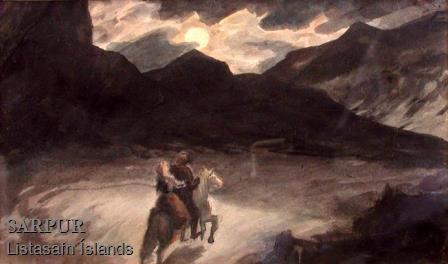 Dauði, Fjall, Hestur, Kona, Maður, Nótt, Tungl, ÞjóðtrúDauði, Fjall, Hestur, Kona, Maður, Nótt, Tungl, Þjóðtrú