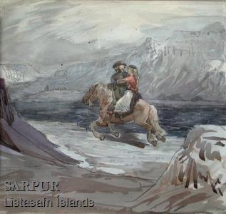 Fjall, Hattur, Hestur, Kona, Maður, Snjór, Svunta, ÞjóðtrúFjall, Hattur, Hestur, Kona, Maður, Snjór, Svunta, Þjóðtrú
